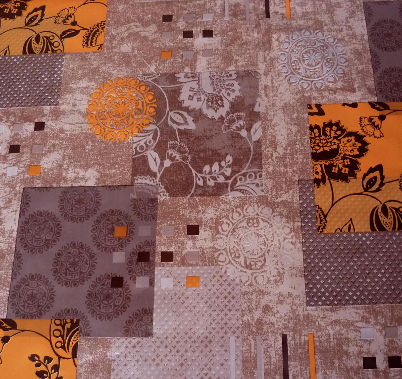 wachstuch tischdecke samoa ranken braun orange abwaschbar k che ebay. Black Bedroom Furniture Sets. Home Design Ideas