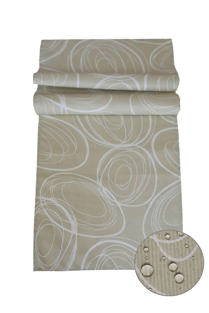 IBIZA Tischläufer Kreise BEIGE 40x140 cm Fleckschutz Lotuseffekt