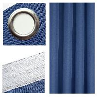 LEINEN Optik Vorhang BLAU Blickdicht Ösen oder Kräuselband - KLASSIKER