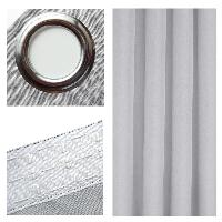 LEINEN Optik Vorhang HELLGRAU Blickdicht Ösen oder Kräuselband - KLASSIKER
