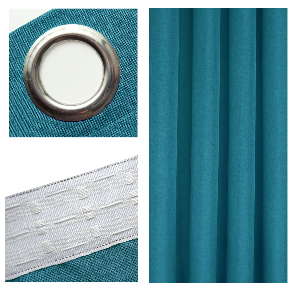 LEINEN Optik Vorhang PETROL Blickdicht Ösen oder Kräuselband - KLASSIKER