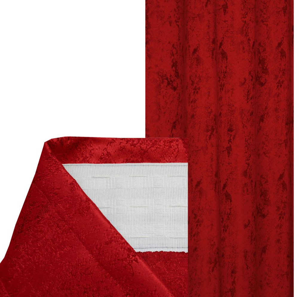 Vorhang MELIERT Kräuselband ROT 140x240 cm Blickdicht