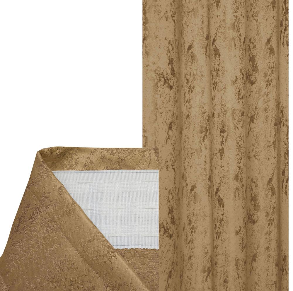 Vorhang MELIERT Kräuselband SAND Hellbraun 140x240 cm Blickdicht