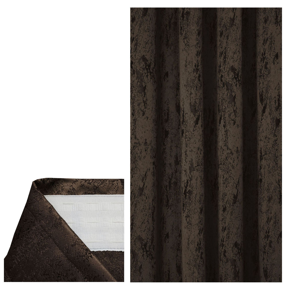 Vorhang MELIERT Kräuselband DUNKEL-BRAUN 140x240 cm Blickdicht