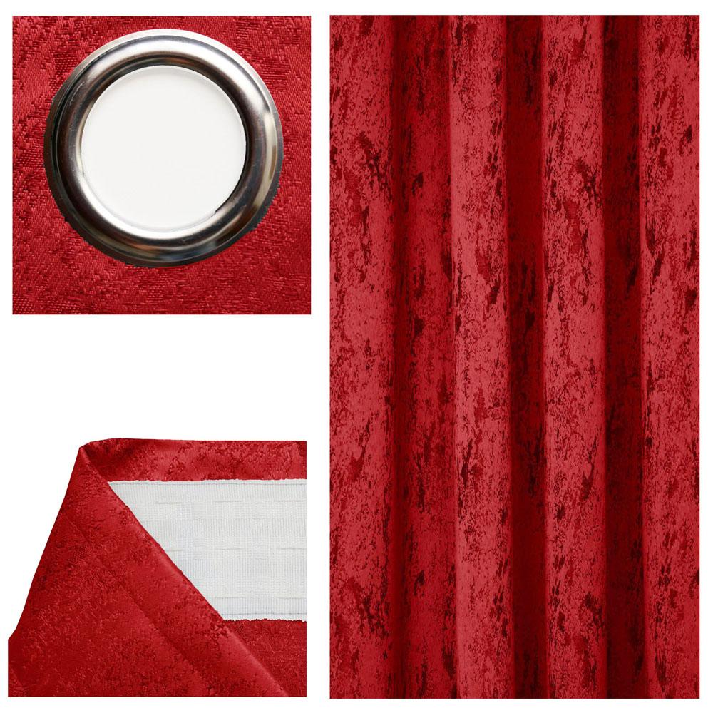 Vorhang MELIERT Blickdicht ROT Ösen oder Kräuselband