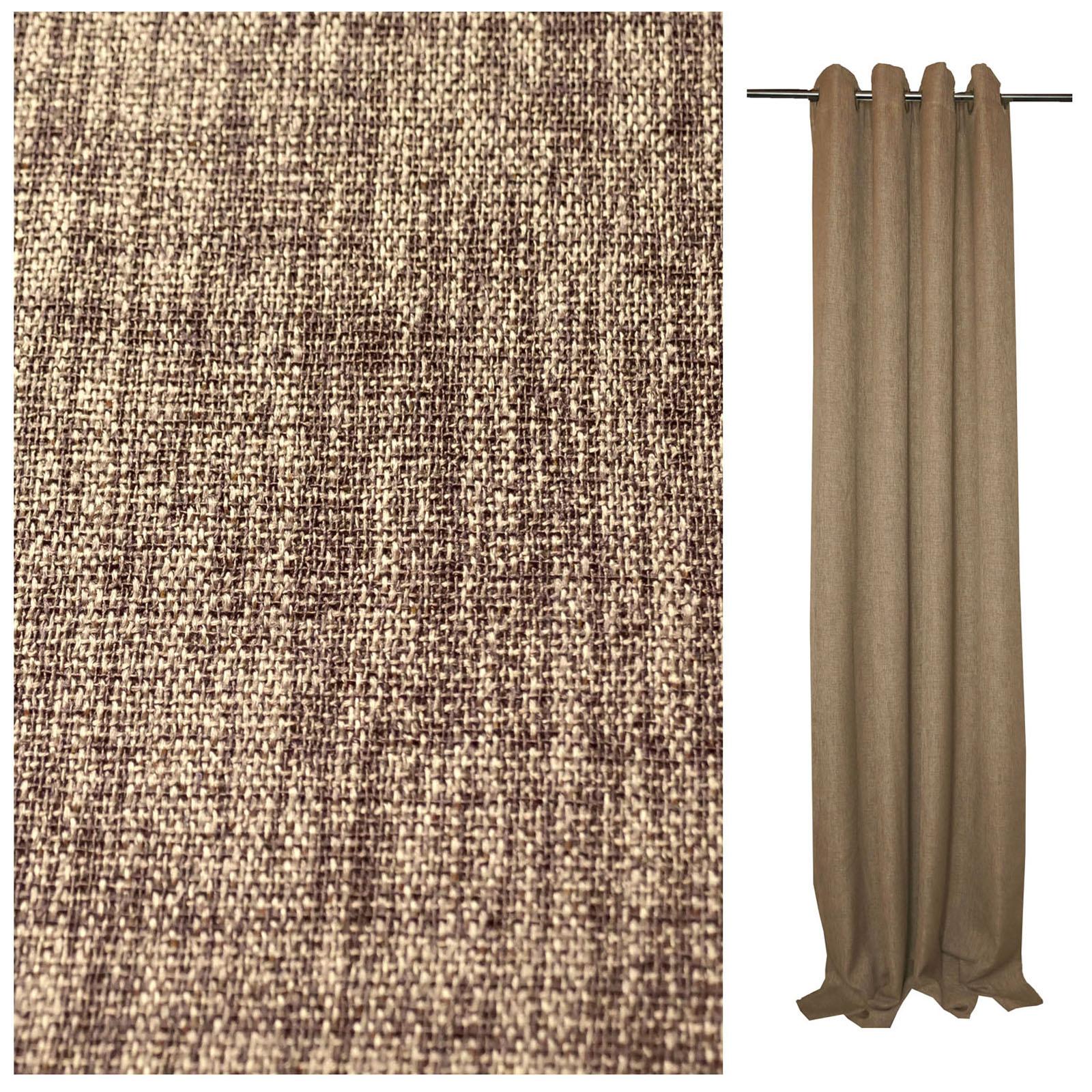 vorhang naturleinen look meliert sen 140x245 cm blickdicht gardine bergardine ebay. Black Bedroom Furniture Sets. Home Design Ideas