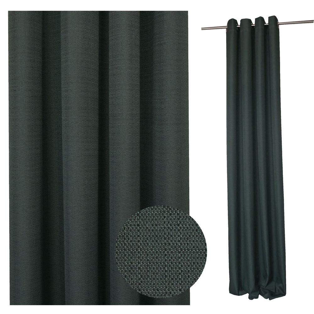 Vorhang STRUKTUR Leinenoptik 140x245cm GRAU #9017 (darkgrey)