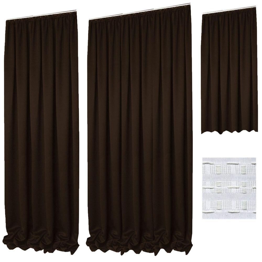 vorhang verdunkelung kr uselband braun glatt gardine uni gr enwahl. Black Bedroom Furniture Sets. Home Design Ideas