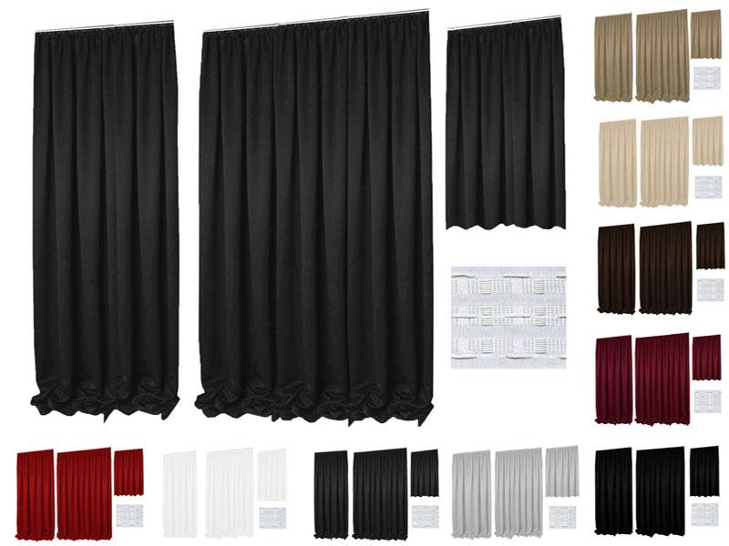 VERDUNKELUNG Vorhang Kräuselband Einfarbig Glatt Blickdicht
