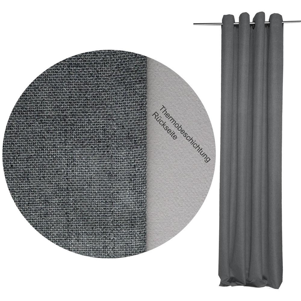 THERMO Vorhang Leinenoptik GRAU 140x245 cm Ösen #9023 Verdunkelung