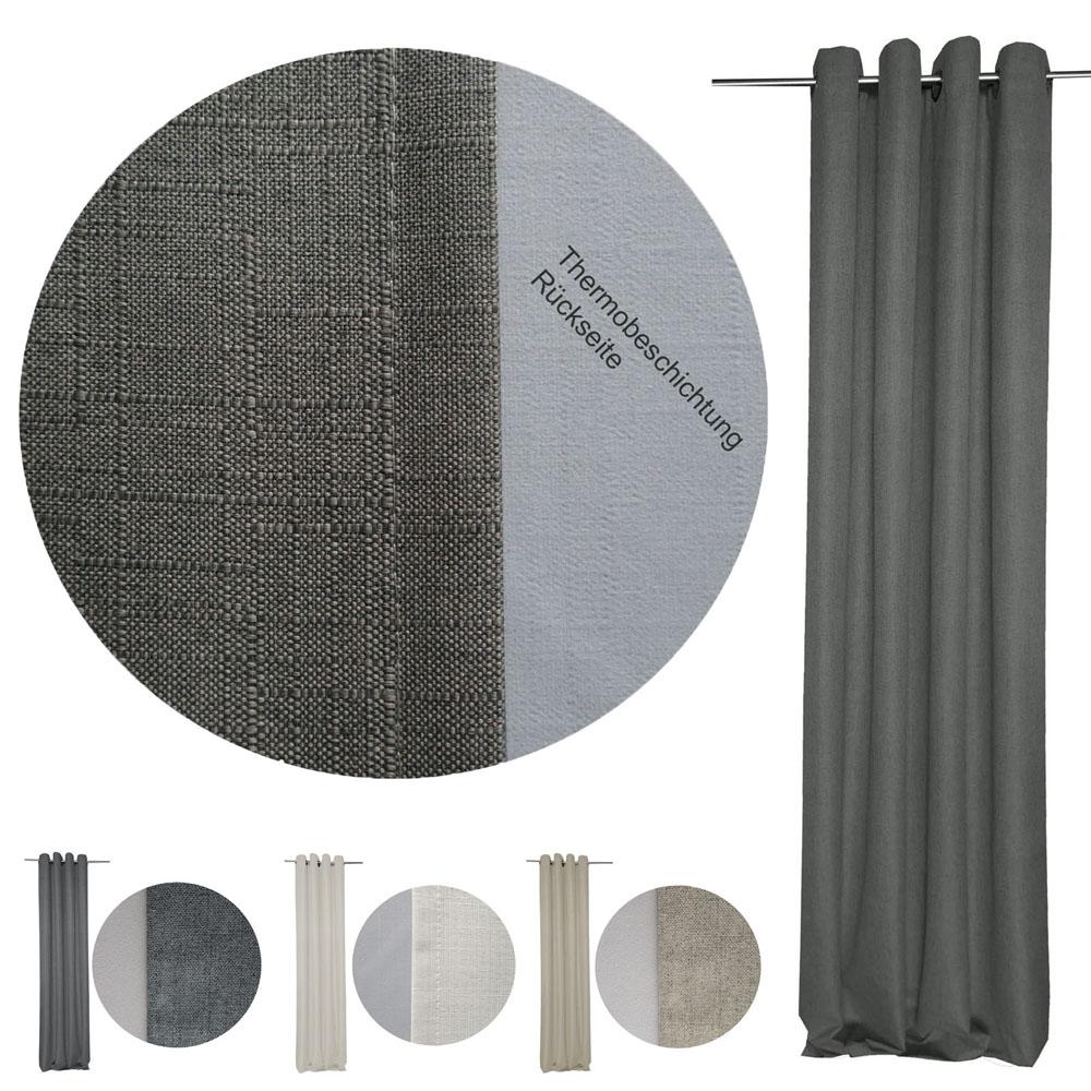 THERMO Vorhang beschichtet Ösen Verdunkelung Thermovorhang Gardine