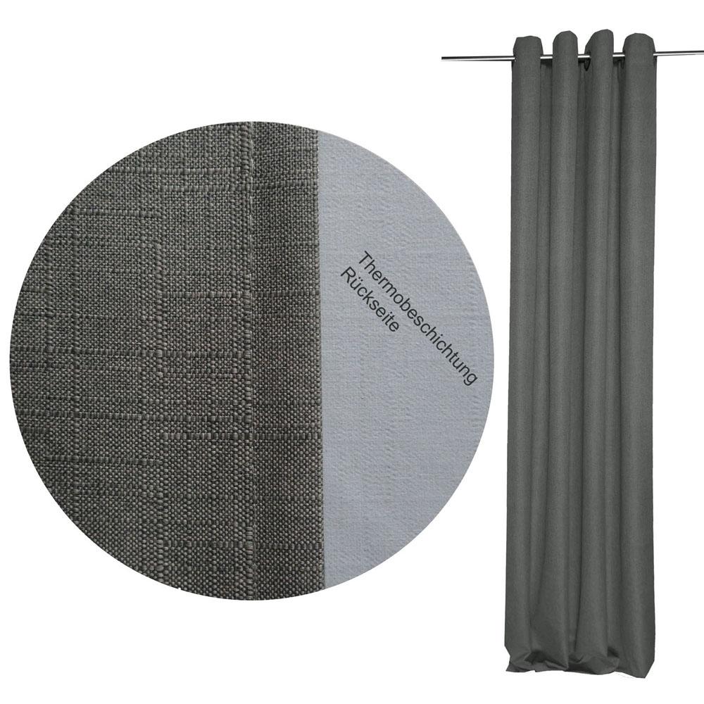 THERMO Vorhang Struktur GRAU 140x245 cm Ösen #9024 Verdunkelung
