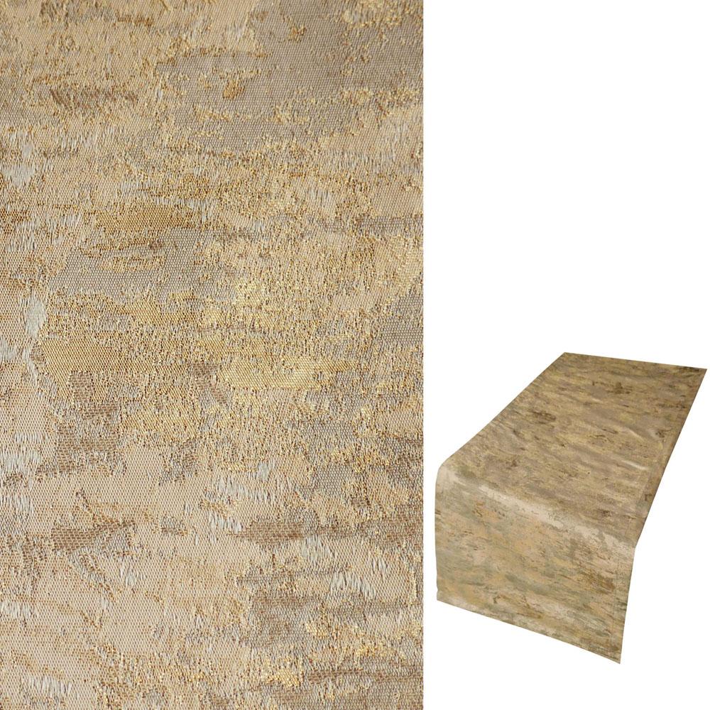 Marmoriert Metallic Effekt Beige Gold Tischläufer 40x140 cm Crash Look