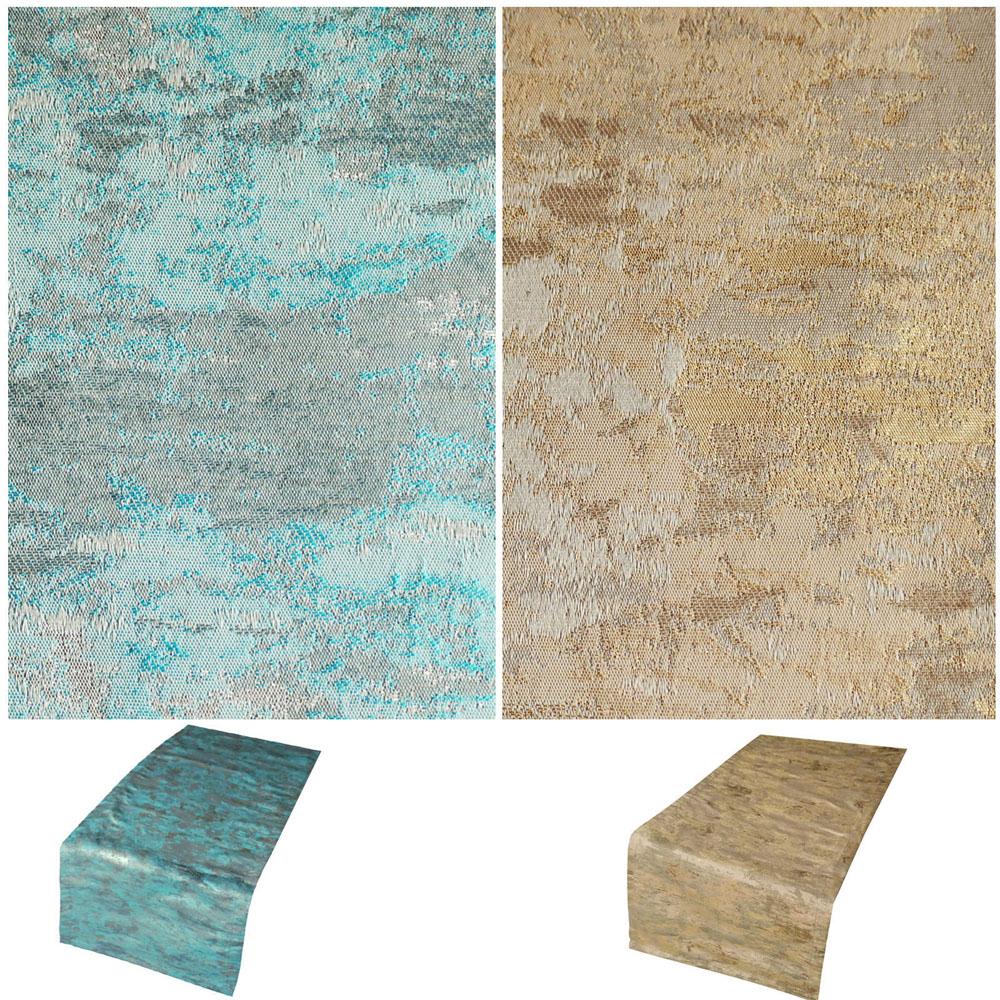 Marmoriert Metallic Effekt Tischläufer 40x140 cm Crash Look