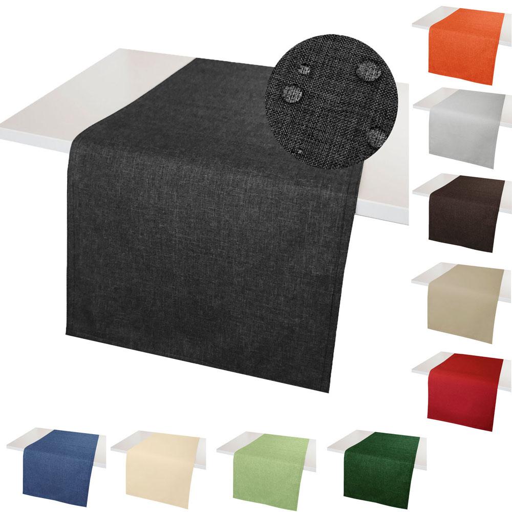 Tischläufer LEINEN Optik Lotuseffekt Fleckschutz WINDSTABIL