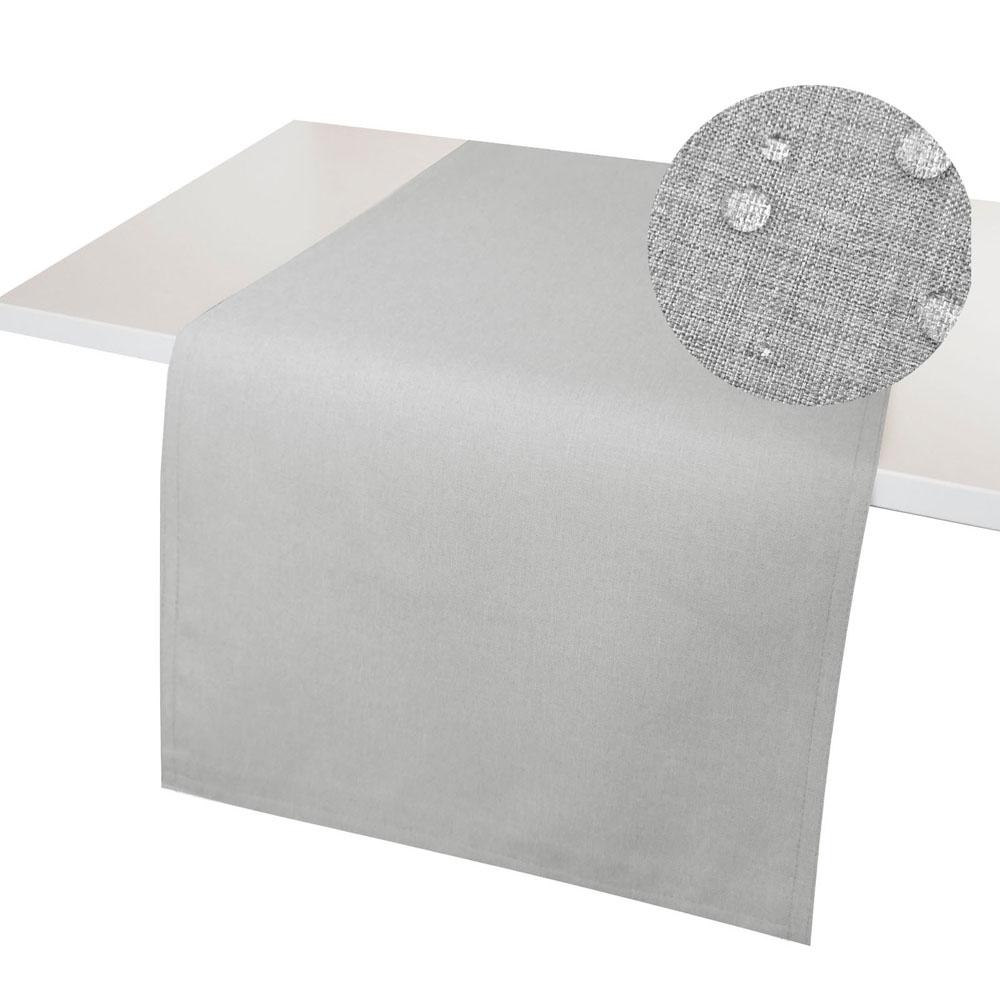 LEINEN Optik Tischläufer HELLGRAU Wende Tischband WINDSTABIL