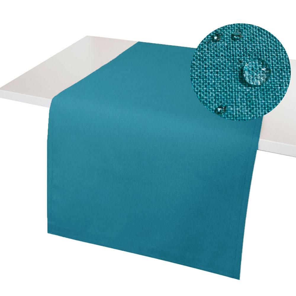 LEINEN Optik Tischläufer PETROL Wende Tischband Fleckschutz WINDSTABIL