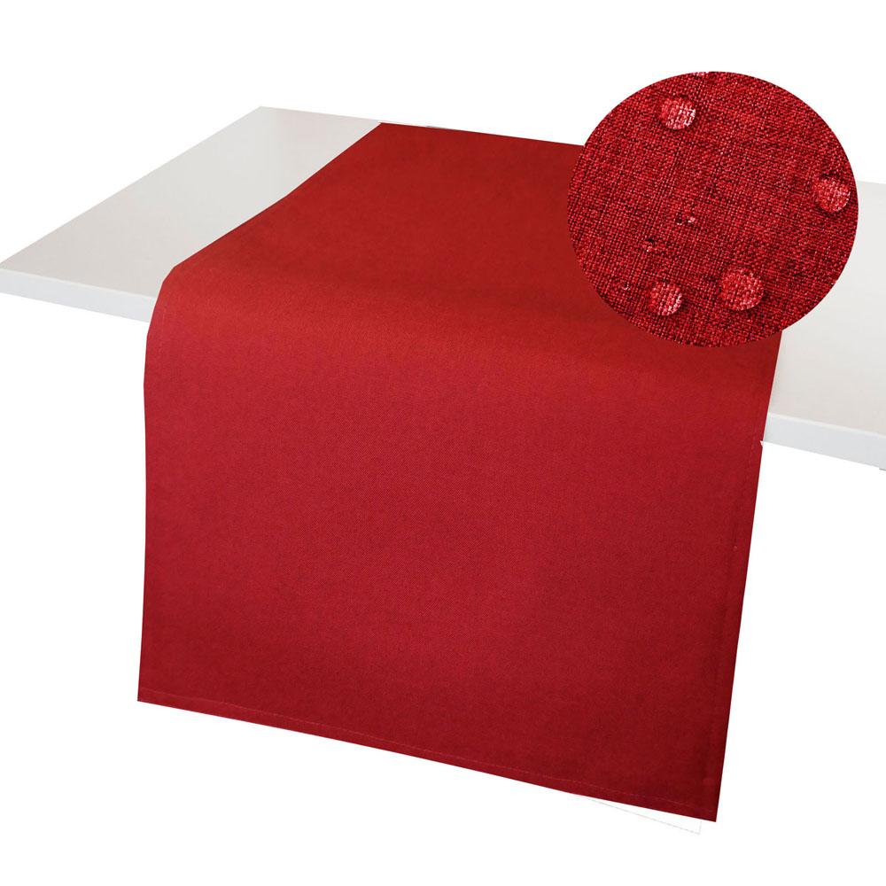 LEINEN Optik Tischläufer ROT Wende Tischband Lotuseffekt WINDSTABIL