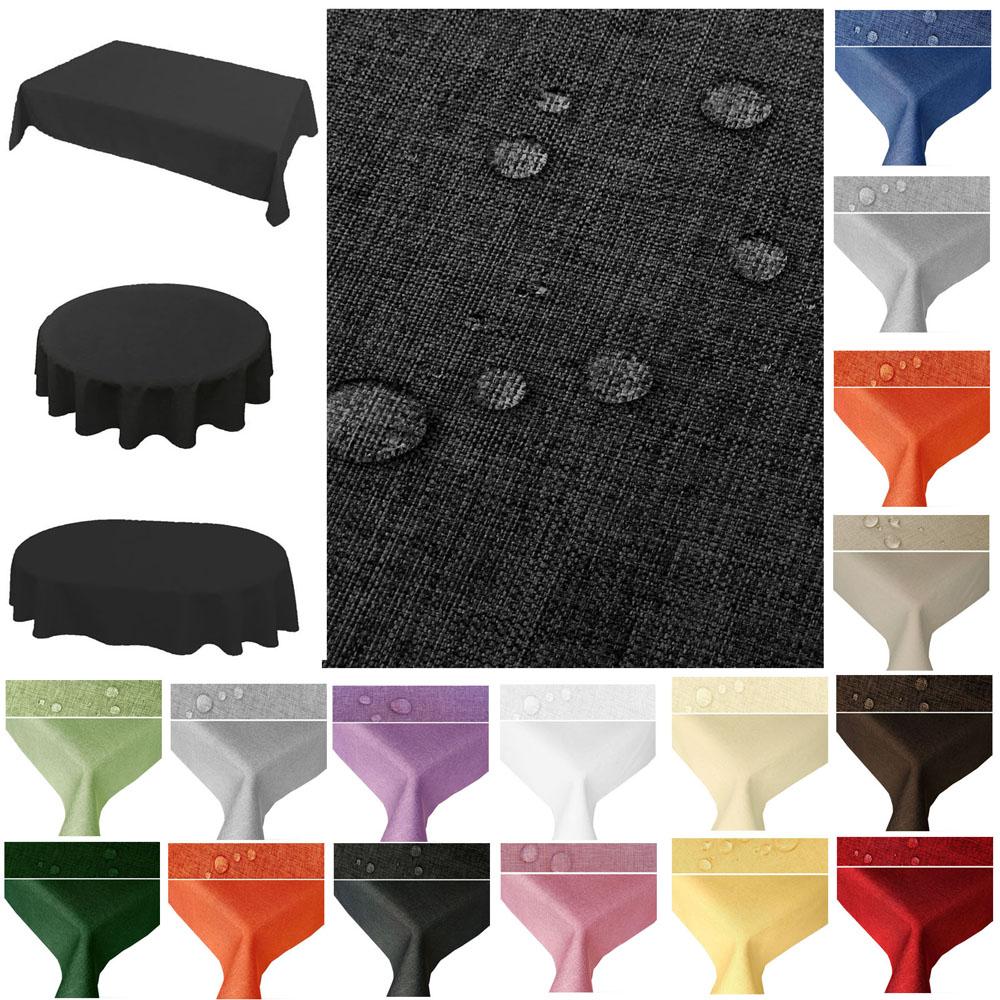 Tischdecke Stoff Lotuseffekt Fleckenabweisend Leinenoptik Teil 2 Eckig Oval