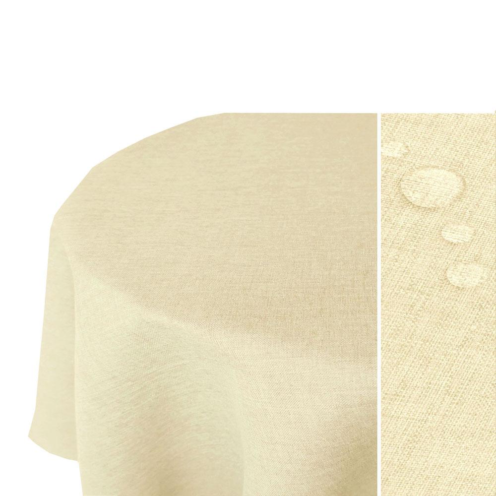 LEINEN Optik Tischdecke Oval CHAMPAGNER Creme Lotuseffekt Bügelfrei
