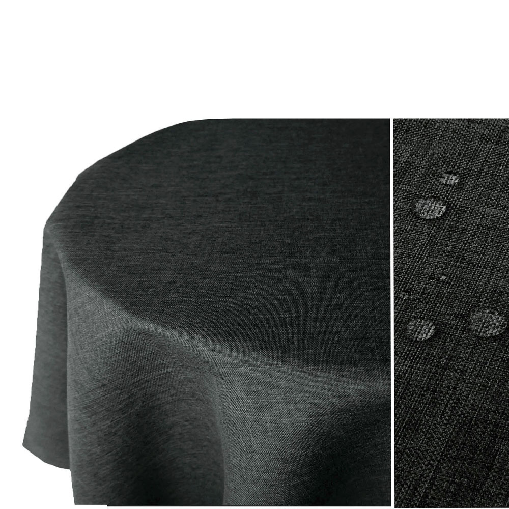 LEINEN Optik Tischdecke Oval DUNKEL-GRAU Lotuseffekt Bügelfrei