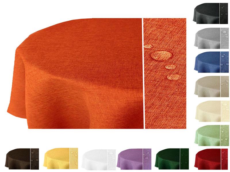 OVAL Tischdecke LEINEN Optik Lotuseffekt Bügelfrei Leinenoptik