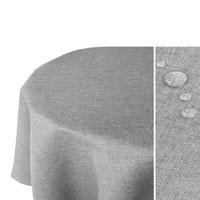 LEINEN Optik Tischdecke Oval HELL-GRAU Lotuseffekt Bügelfrei