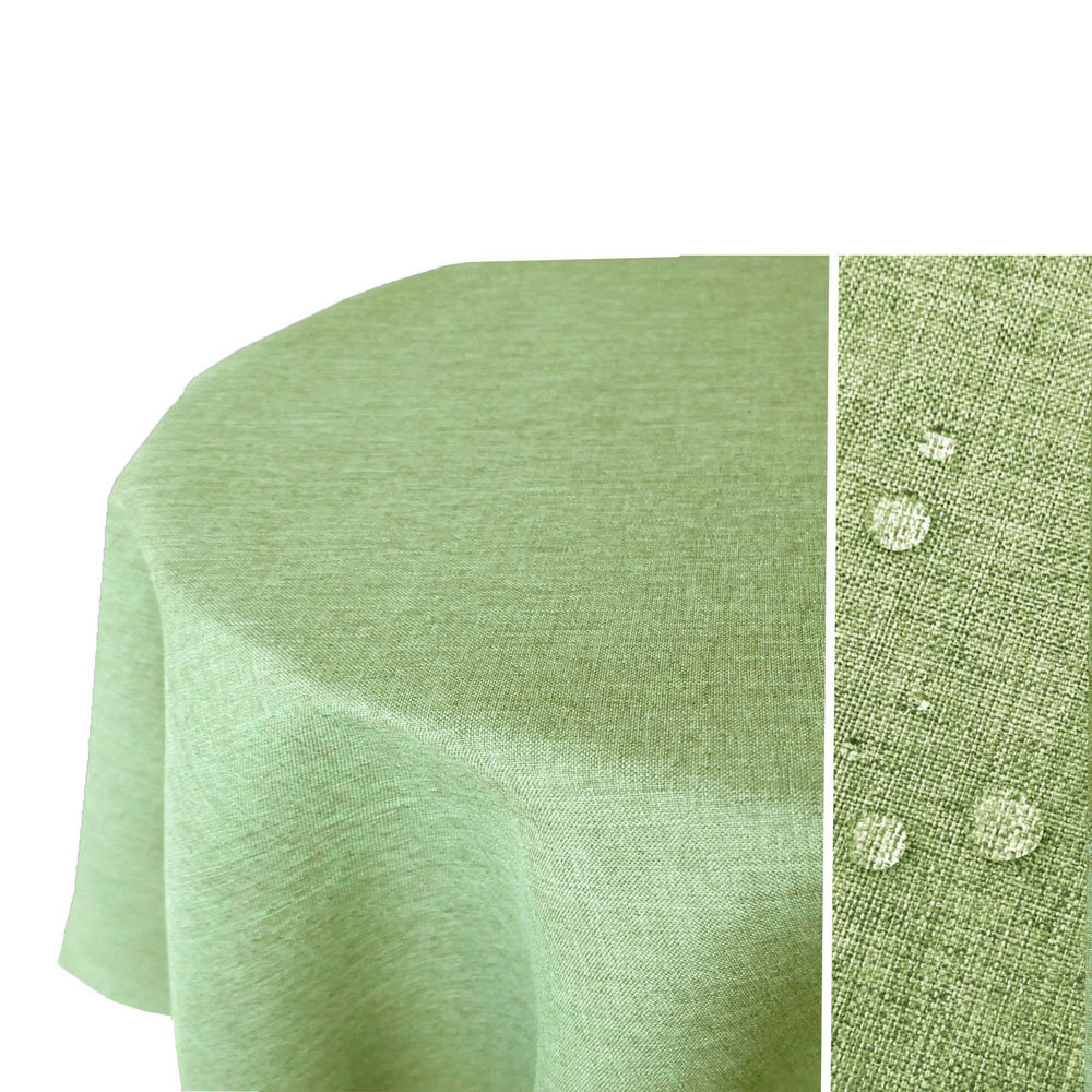 LEINEN Optik Tischdecke Oval HELL-GRÜN Lindgrün Lotuseffekt