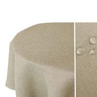 LEINEN Optik Tischdecke Oval NATUR-BEIGE Sand Lotuseffekt Bügelfrei