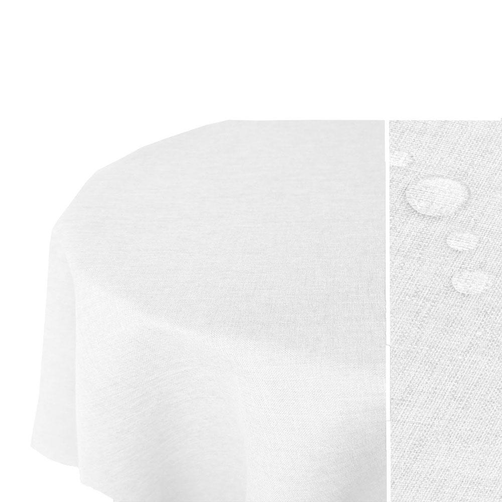 LEINEN Optik Tischdecke Oval WEISS Lotuseffekt Bügelfrei