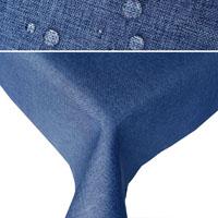 LEINEN Optik Tischdecke Quadratisch BLAU Lotuseffekt Bügelfrei