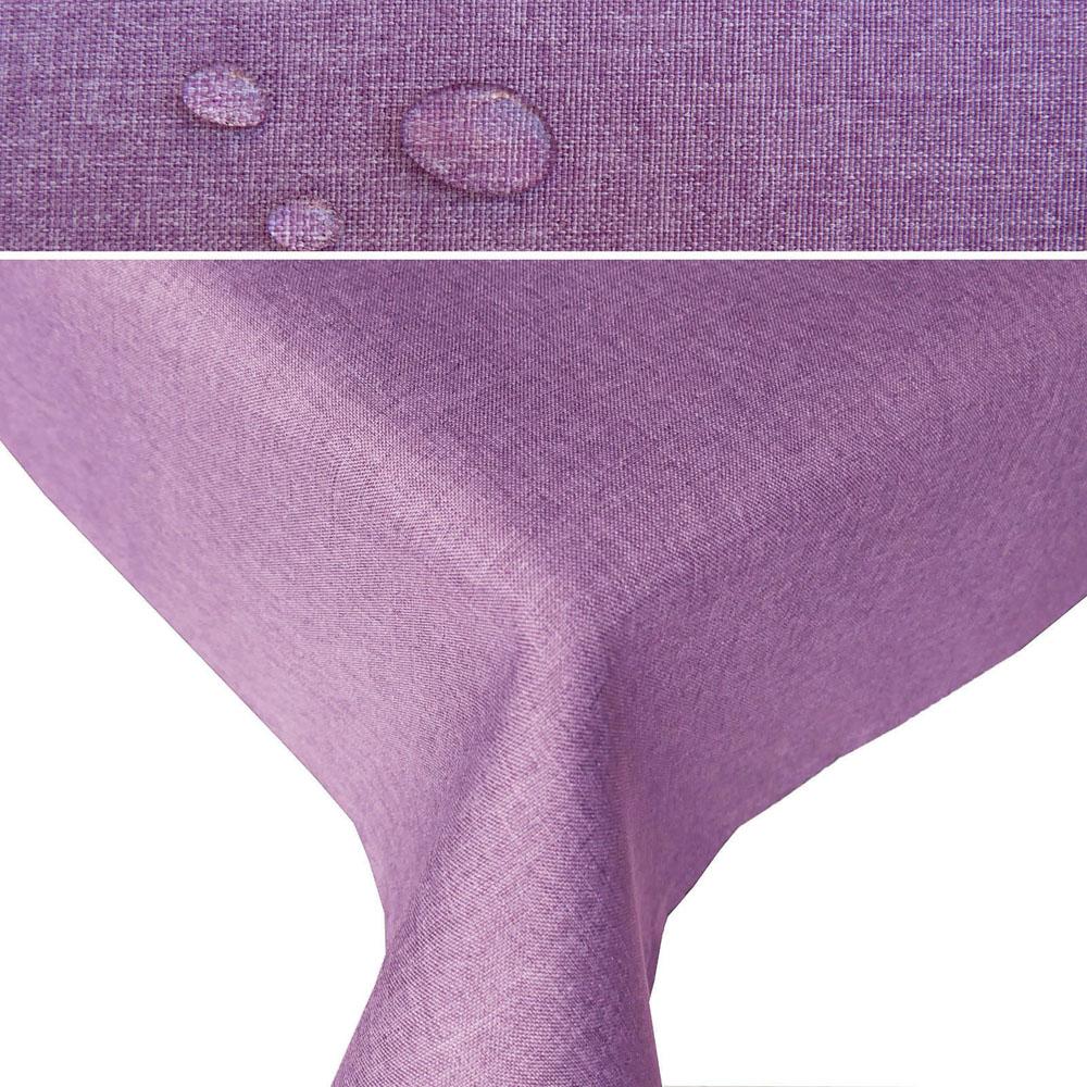 LEINEN Optik Tischdecke Quadratisch LILA Lotuseffekt Bügelfrei