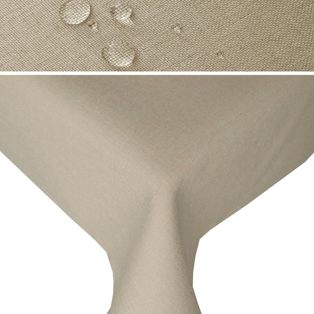 LEINEN Optik Tischdecke Quadratisch NATUR-BEIGE Lotuseffekt Bügelfrei
