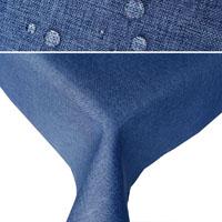 LEINEN Optik Tischdecke Rechteckig BLAU Lotuseffekt Bügelfrei