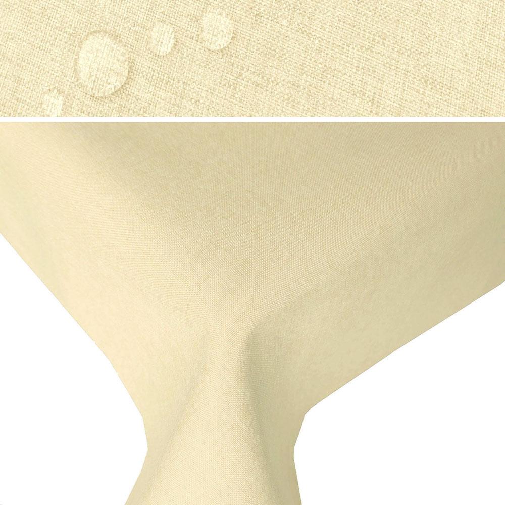 LEINEN Optik Tischdecke Rechteckig CHAMPAGNER Creme Lotuseffekt
