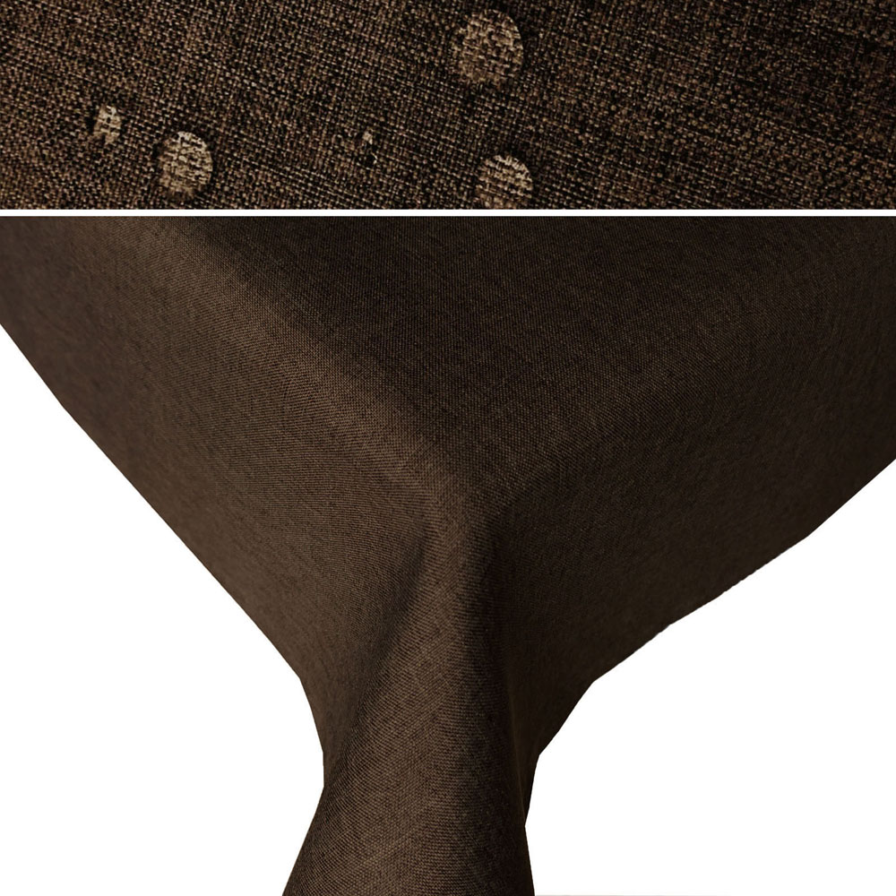 LEINEN Optik Tischdecke Rechteckig  DUNKELBRAUN Lotuseffekt Bügelfrei