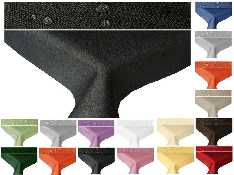 Tischdecke Leinen Optik 160 und 110 cm Breite Rechteckig Lotuseffekt  Bügelfrei