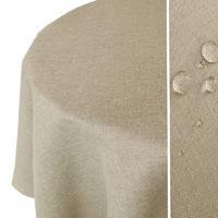 LEINEN Optik Tischdecke Rund NATUR-BEIGE Sand Lotuseffekt Bügelfrei