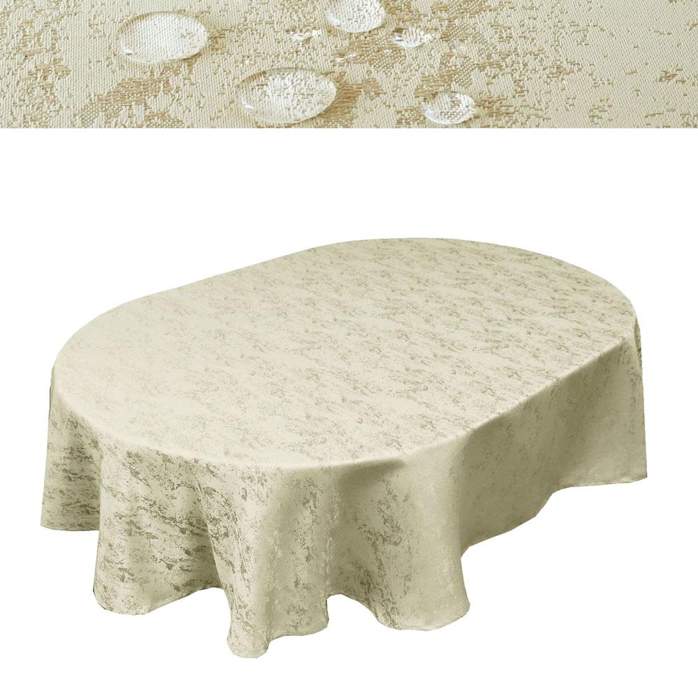 MELIERT Tischdecke Oval CHAMPAGNER Lotuseffekt Bügelfrei Größenwahl
