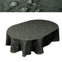 MELIERT Tischdecke Oval GRAU Lotuseffekt Bügelfrei Größenwahl