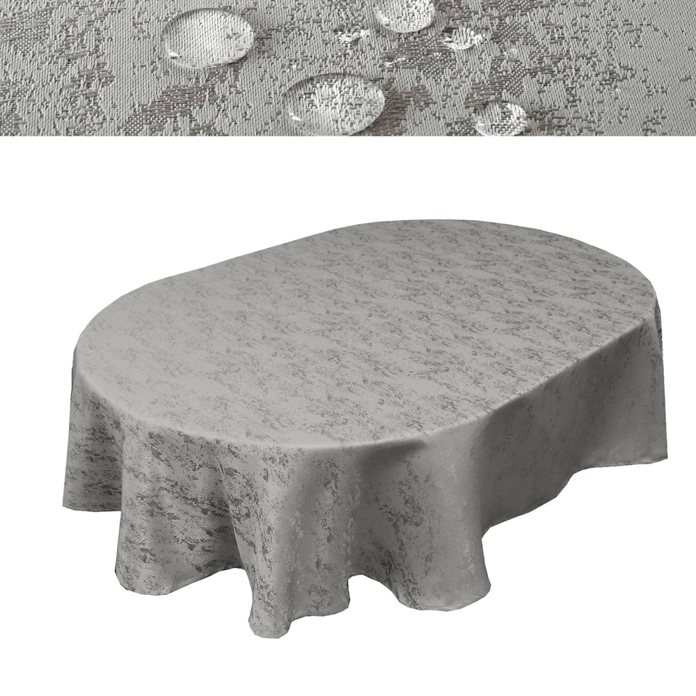 MELIERT Tischdecke Oval  HELLGRAU Lotuseffekt Bügelfrei Größenwahl