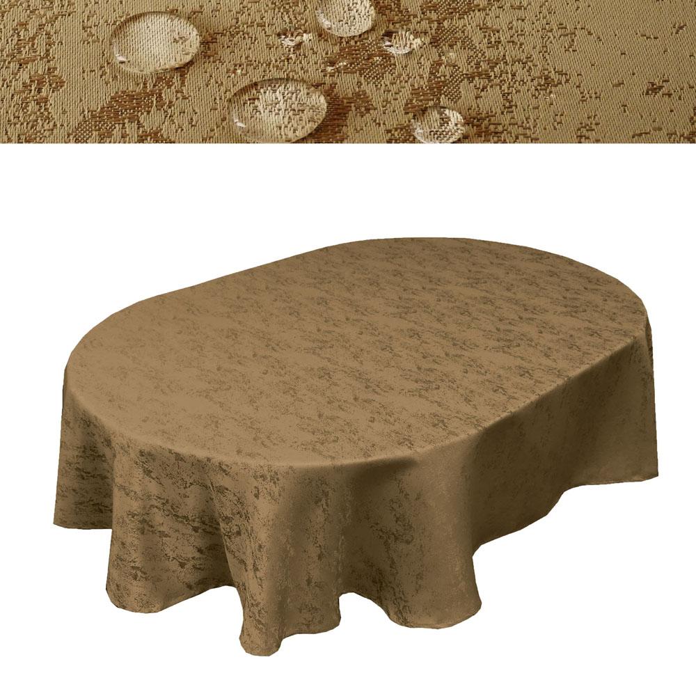 MELIERT Tischdecke Oval SAND Lotuseffekt Bügelfrei Größenwahl