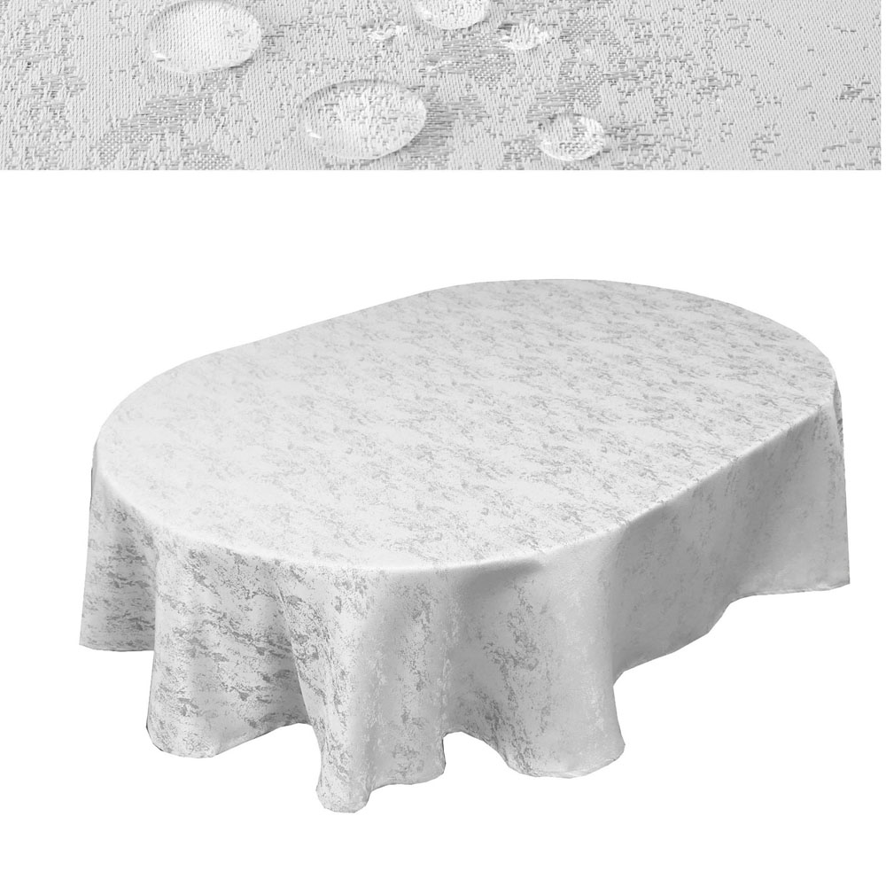MELIERT Tischdecke Oval WEISS Lotuseffekt Bügelfrei Größenwahl