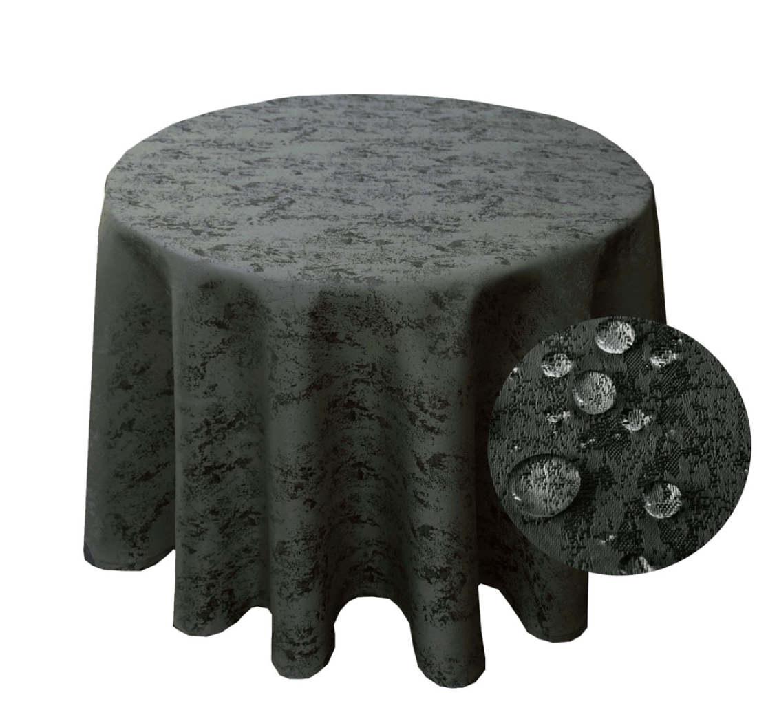 MELIERT Tischdecke Rund GRAU Lotuseffekt Bügelfrei Größenwahl