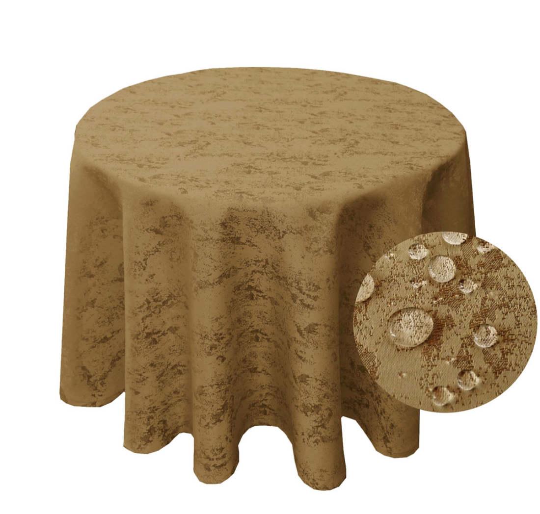 MELIERT Tischdecke Rund SAND Lotuseffekt Bügelfrei Größenwahl