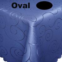 Ornamente Tischdecke Oval BLAU Pflegeleicht Bügelfrei