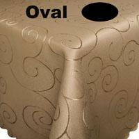 Ornamente Tischdecke Oval CAPPUCCINO Hellbraun Bügelfrei