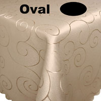 Ornamente Tischdecke Oval CREME-BEIGE Pflegeleicht Bügelfrei
