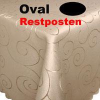 Ornamente Tischdecke Oval 160x360 CREME-BEIGE Pflegeleicht