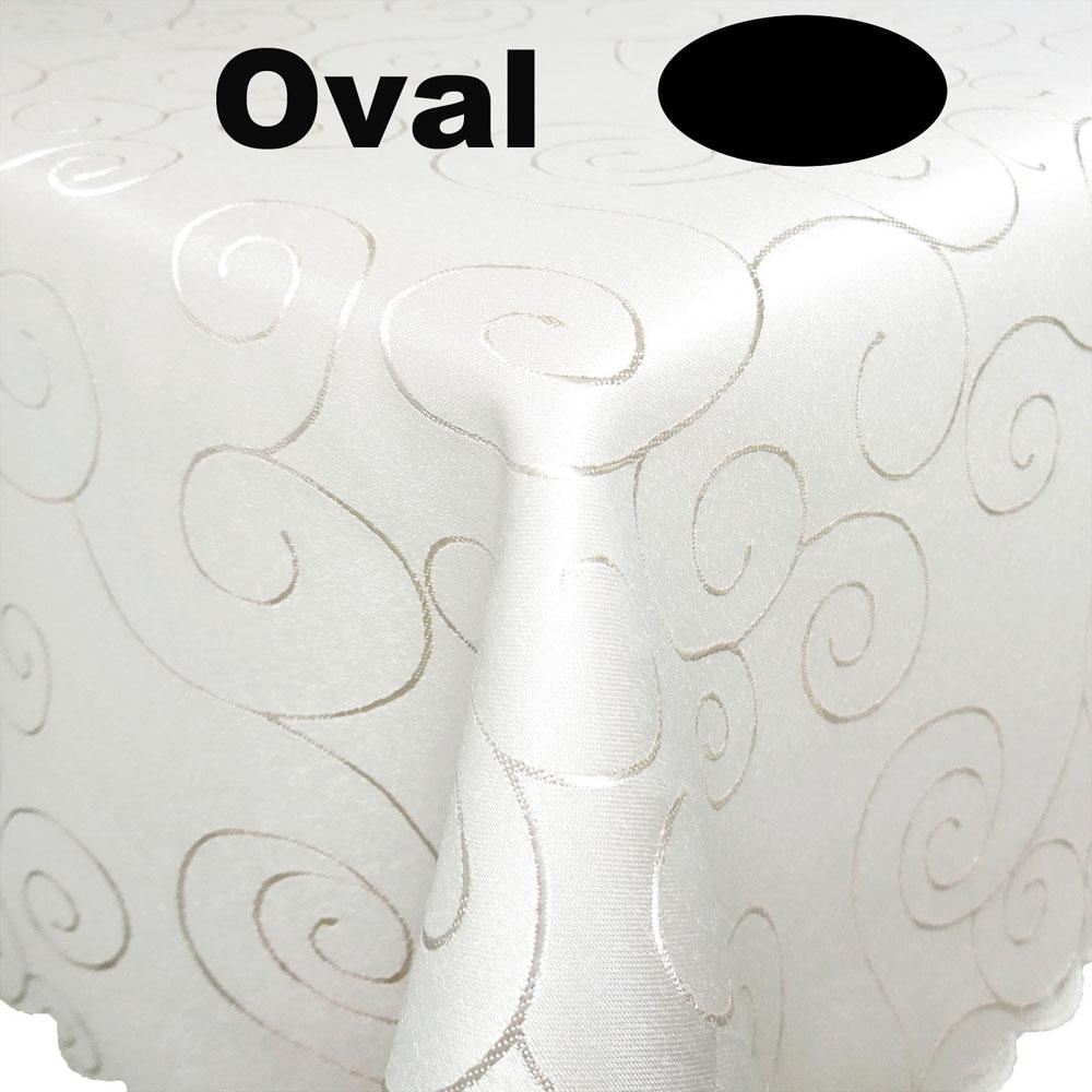 Ornamente Tischdecke Oval 130x360 CREME-WEISS